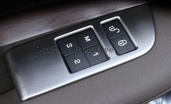 4ピース/セットabsクローム車の子供の安全ドアロックスイッチパネルカバートリム用ランドローバーディスカバリー5 2017インテリアアクセサリー