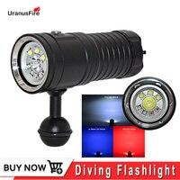 Uranusfire LED Taschenlampe foto laterne für fotografen XM L2 UV rot unterwasser video lihgt lampe Tauchen Taschenlampe 32650 led Taschenlampe