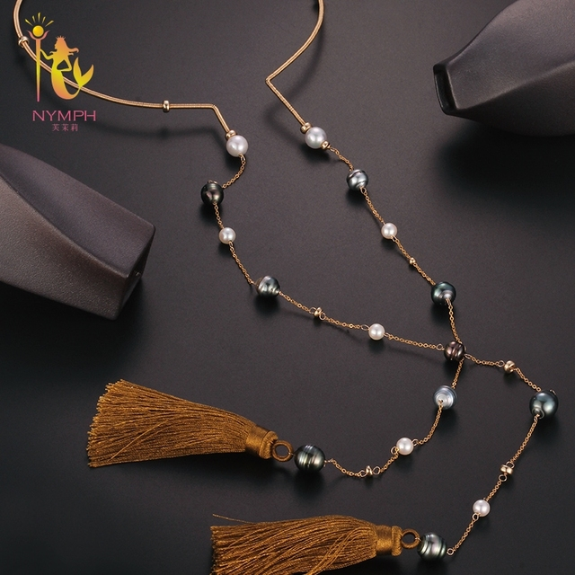 b058d23fe [NYMPH] Fine Jewelry Long Pearl Necklace Natural Sweater Baroque Pearl  Anniversary Gift Black Onyx X343