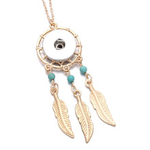 Snap Jewelry Gold Dreamcatcher Feather Pendant Necklace 18mm Snap necklaces Snap Button DI