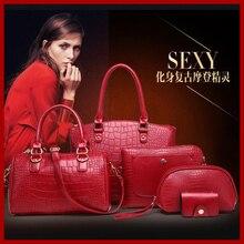 Venta al por mayor 2015 mujeres alto grado de moda bolsos del bolso de hombro portátil cocodrilo mujeres messenger bags bolsas 5 sets NB24