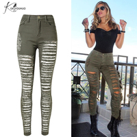 Women Vintage High Waist Skinny Denim Jeans Slim Ripped Pencil Jeans Hole PantsNew Female Sexy