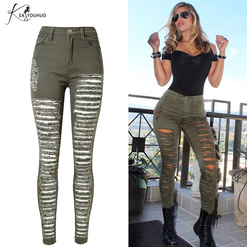 2019 Winter High Waist Ripped Jeans Denim Jeans Green Army Military Boyfriend Jeans For Womens Lady Skinny Jean Camouflage Pants