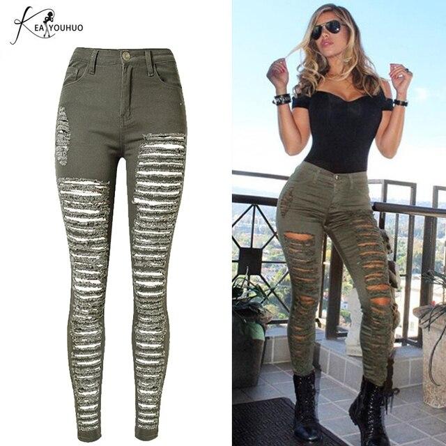 c0931bf07d5 Verano de 2018 alta cintura vaqueros Jeans Denim verde militar ejército  novio Jeans para mujer señora