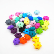 Chenkai 50pcs 10mm BPA Free Silicone Star Teether Beads DIY Baby Shower Pacifier Dummy Necklace Jewelry Toy Gift Accessories