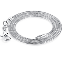 "Hot Chain 1.2 MM Slim Top Quality 18K Stamped Silver Snake Chain Jewelry Findings 16 ""18"" 20 ""22"" 24 "" 26"" 28"" 30"" Wholesale(China)"