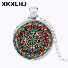 Multicolor Flower Of Life Pendant Necklace Silver Chain Statement Long Glass Dome Om Mandala Yoga Jewlery Buddhist Gift