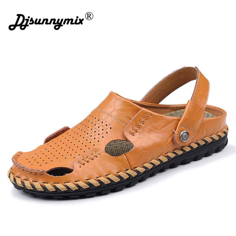 DJSUNNYMIX Breathable Hollow Outs Men Sandals New 2018 Summer Men Shoes Patchwork Genuine Leather Male Sandalias Beach Shoes