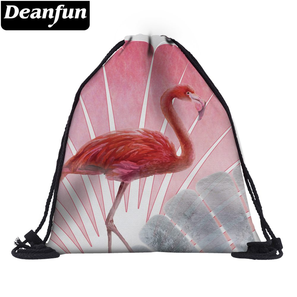 Deanfun Flamingo Drawstring Shoulder Bag 3D Printing Women School Organizer 60125 #