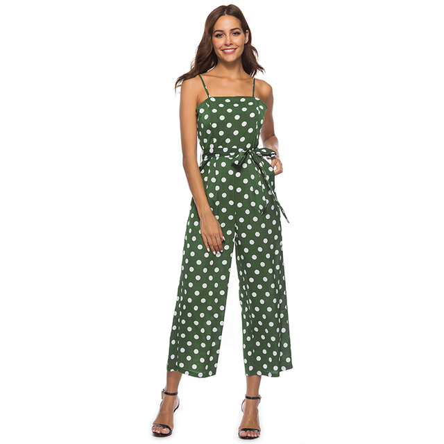 47ac1aab01 Summer Sleeveless Polka Dot Jumpsuit Women Summer Strap Wide Leg Jumpsuits  Female Casual Long Overalls Sexy Backless Rompers