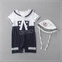 Retail Summer Baby Boys Rompers Navy Style Short Sleeve Jumpsuits With Hat One Piece Overalls 0