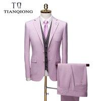 TianQiong Новое поступление костюмы для мужчин 2019 розовый 2 шт Свадебные костюмы для мужчин Slim Fit бутик бизнес для официального торжества выпуск