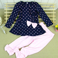 2017 New Baby Girl clothing Sets kidsT shirt + Pants Cute Princess Polka Dot Print Bow Baby Girl Outfits Children's Sets W1