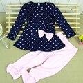 2017 Nueva ropa Del Bebé Establece kidsT camisa + Pantalones Lindos princesa Impresión del punto de Polca Del Arco Del Bebé Trajes Para Niños Sets W1