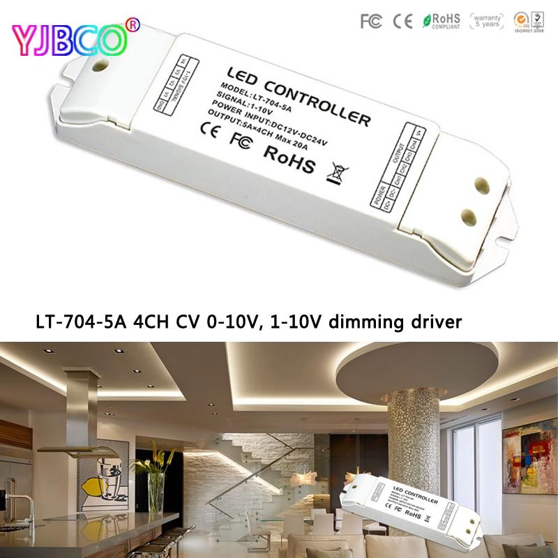 LTECH LT-704-5A; DC12-24 V 4CH CV 0-10 V, 1-10 V à PWM gradation pilote 5A X 4 CH MAX 20A pour led rgbw bande couleur unique