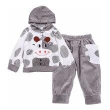 2012017 Autumn Newborn Clothing Sets Baby Children Clothes Boys Girls Set Cotton Print Dog Suit Infant