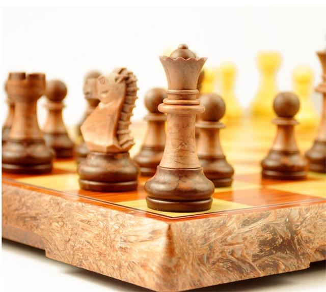 Enssemble d'échecs International, platea magnétique pliant, de haute qualité, plastique style grain de bois 4