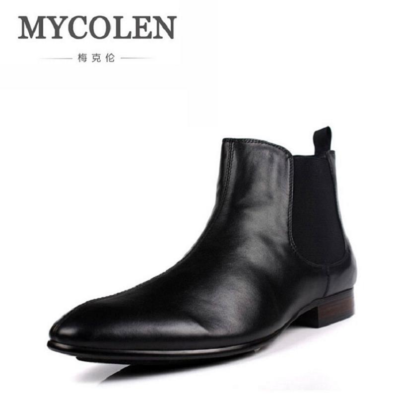 MYCOLEN Brand Fashion Men Shoes Winter Soft Leather Male Ankle Boots High Top Chelsea Boots Round Toe Work Dress Shoes Botte