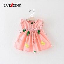 LUEISENY Summer 2019 Baby Dress Frill Sleeve Newborn Infant Girls Clothes Cotton Sleeveless Toddler Dresses