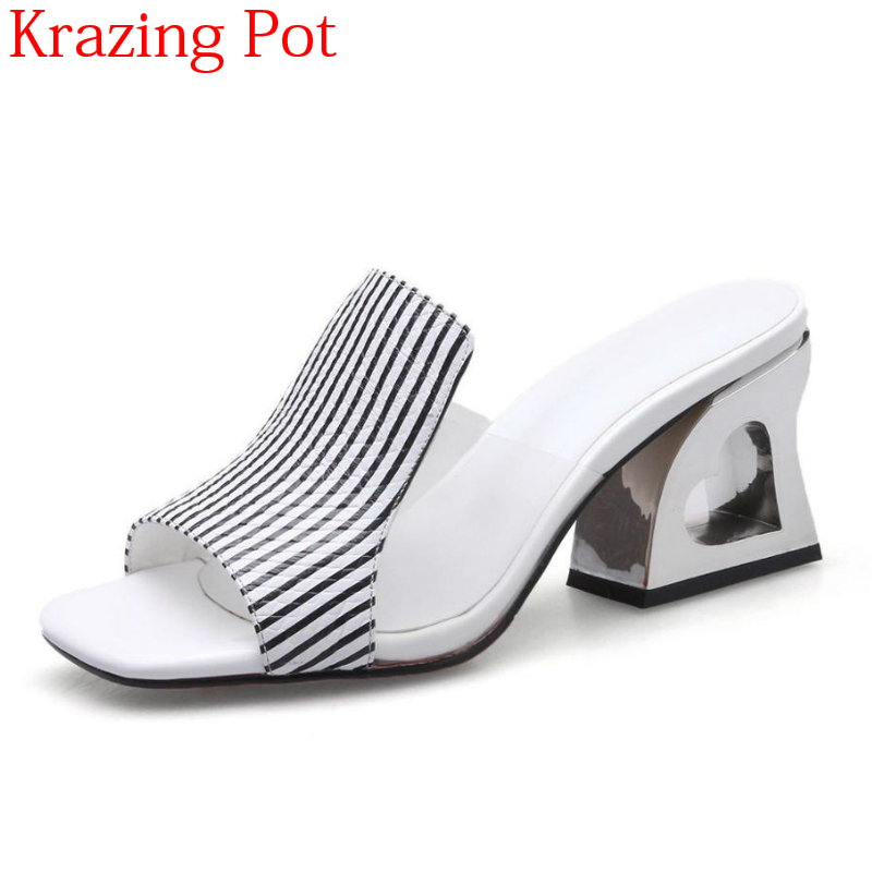 2019 Fashion Big Size Cow Leather Love Hollow Fretwork High Heels Women Sandals Slingback Office Lady