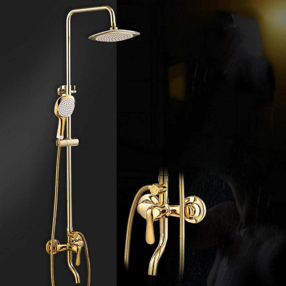 Golden Chrome Brass Finish Bathroom Shower Set Rain Shower Head Bath Shower Mixer with Hand Shower sognare new wall mounted bathroom bath shower faucet with handheld shower head chrome finish shower faucet set mixer tap d5205