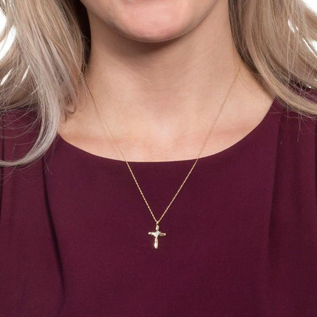 Cross Crystal Link Chain Necklace Silver Pendant For Women Gift