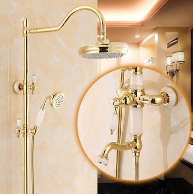 75066a092db7d Luxo de Ouro Banho Chuvas Torneira Do Chuveiro Set Banheira de Bronze e  Jade Torneira com a Mão Spray wall Mounted Bath   Shower Faucet