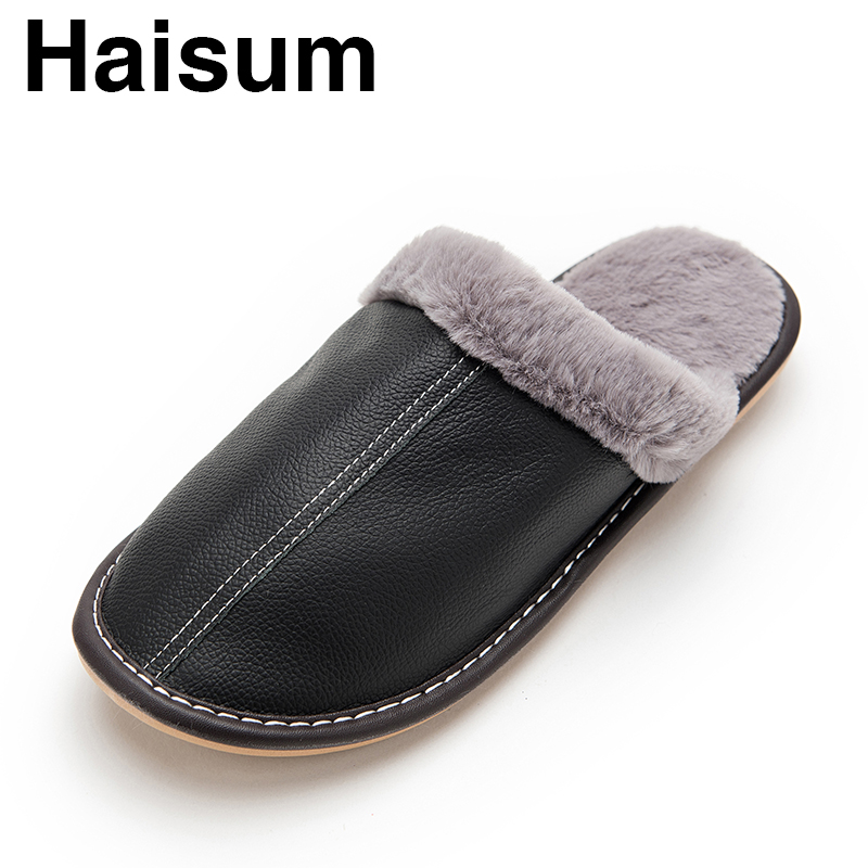 Men's Slippers Winter genuine Leather Thick With Plush Home Indoor Non-slip Thermal Slippers 2018 New Hot Sale Maylooks kh003 plush home slippers women winter indoor shoes couple slippers men waterproof home interior non slip warmth month pu leather