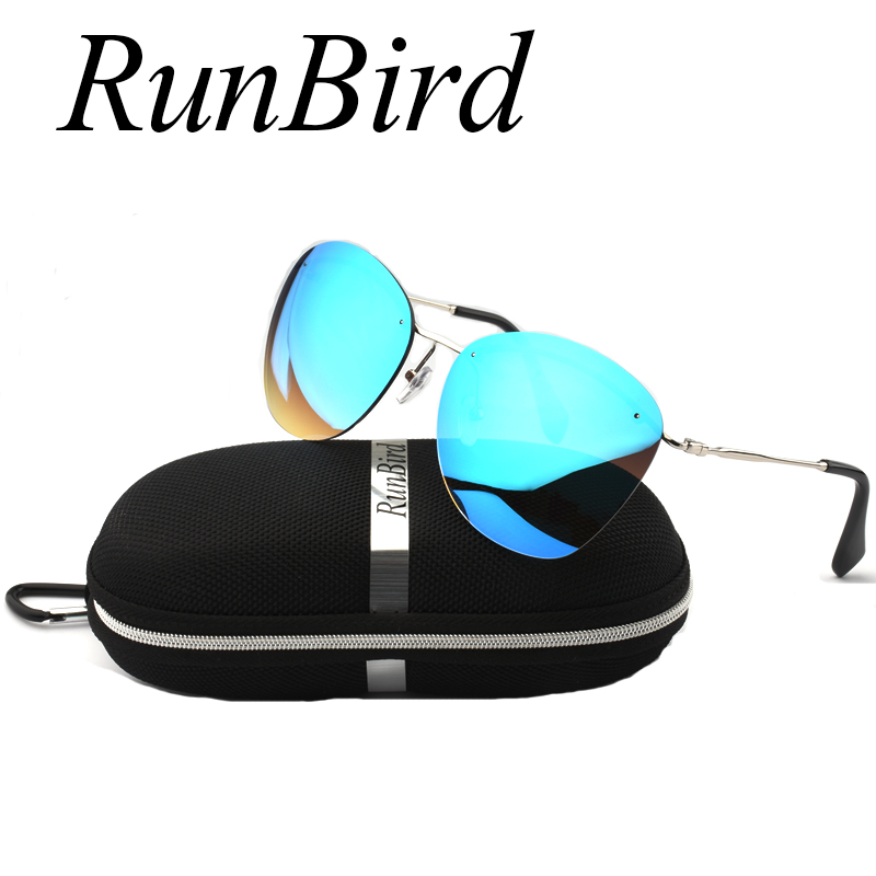 2017 Fashion Blue Coating Rimless Sunglasses Men Brand Designed Sunglass Women Frameless Sun Glasses Gafas De Sol with Box R104