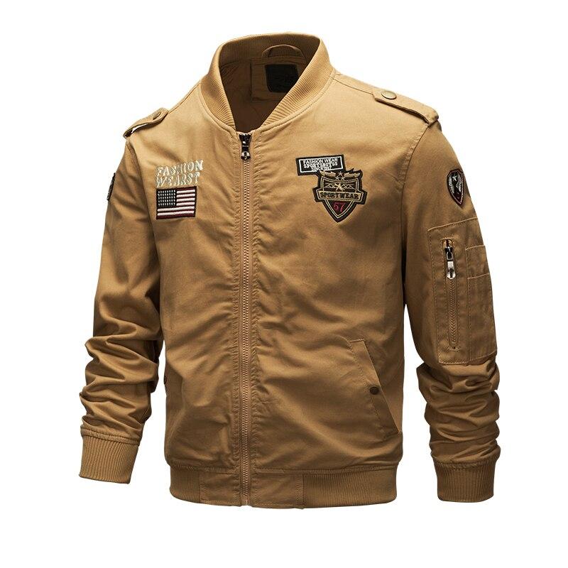 New khaki men's slim jacket Pilot fashion casual jacket European and American style fashion cool motorcycle driver slim jacket
