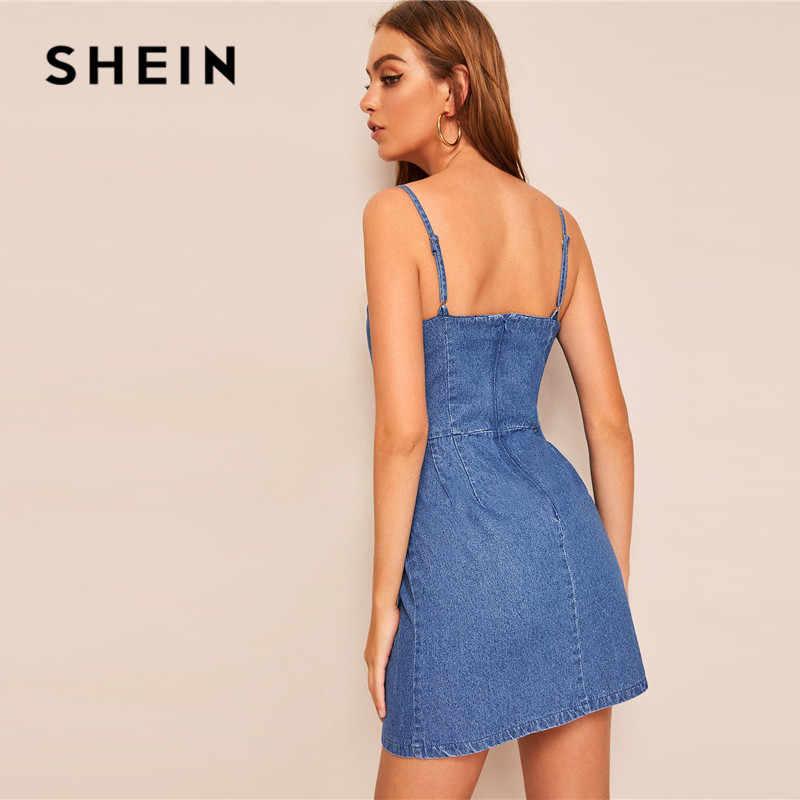SHEIN синее сексуальное джинсовое мини-платье на молнии сзади, Женские однотонные регулируемые бретельки без рукавов с высокой талией, летнее платье