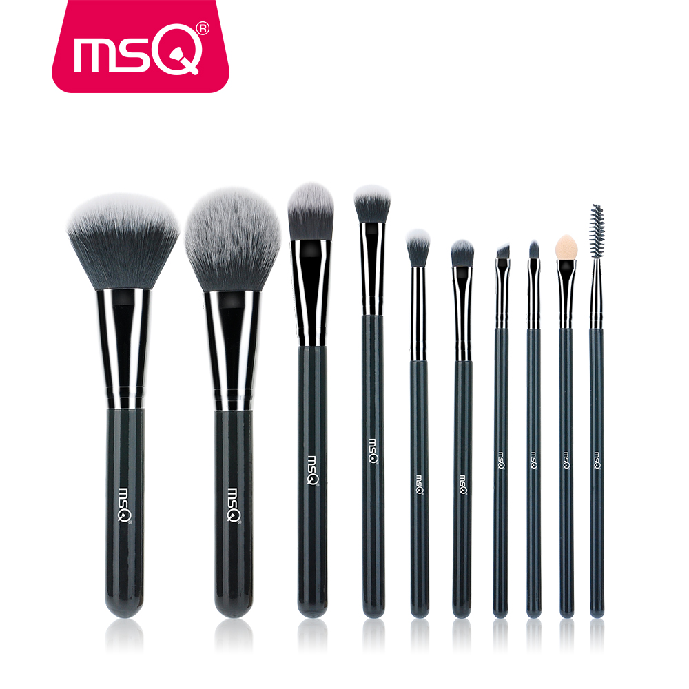 MSQ 10pcs High Quality Professional Makeup Brush Set Brilliant Black Handle for Classic Makeup Tools Kit