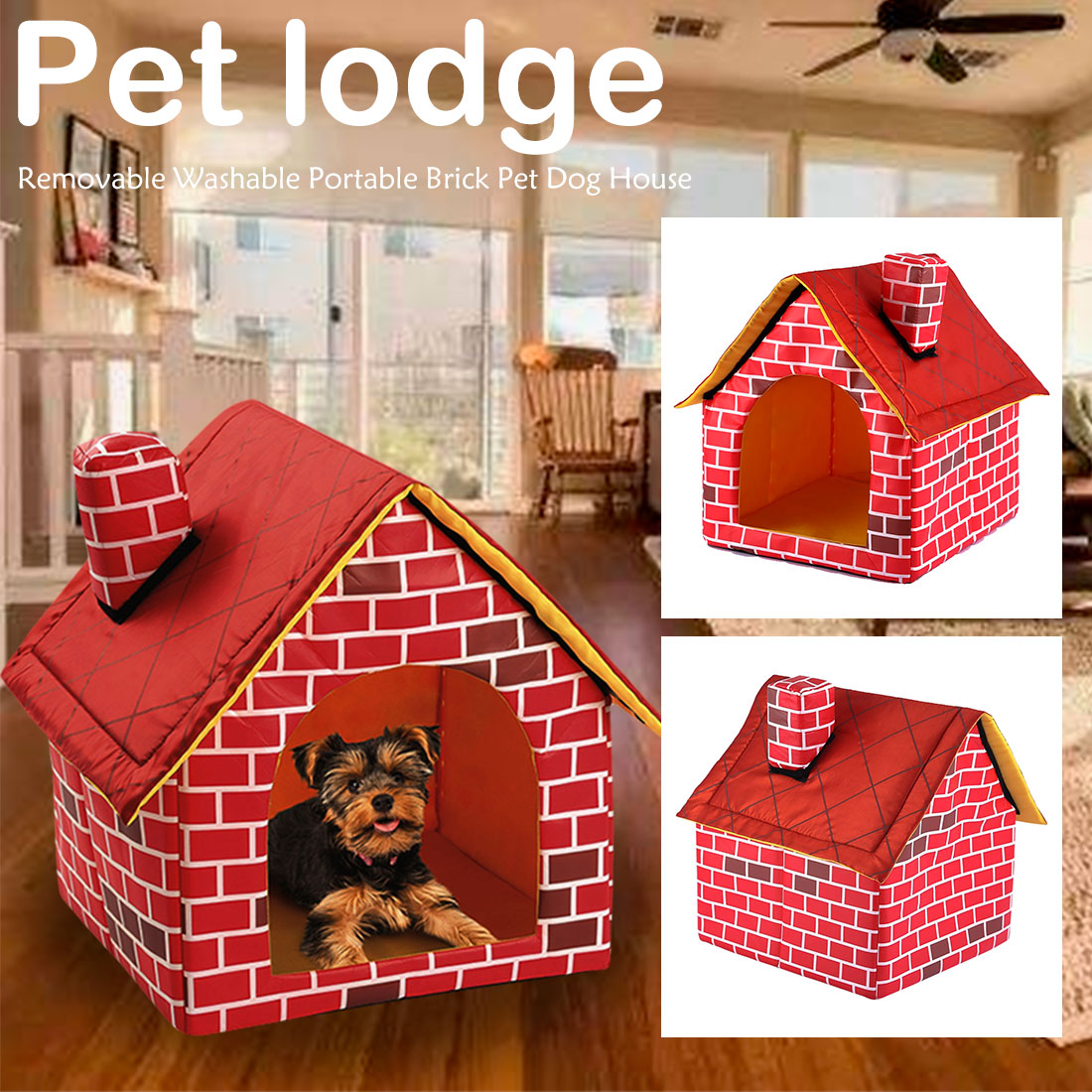 Red Brick <font><b>Dog</b></font> House <font><b>Kennel</b></font> Nest <font><b>Portable</b></font> Pet <font><b>Dog</b></font> Cat Bed House For Small Medium <font><b>Dogs</b></font> Indoor Pet Bed Product image