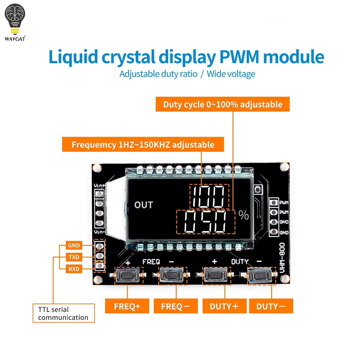 WAVGAT Signal Generator PWM Pulse Frequency Duty Cycle Adjustable Module LCD Display 1Hz-150Khz 3.3V-30V PWM Board ModuleWAVGAT Signal Generator PWM Pulse Frequency Duty Cycle Adjustable Module LCD Display 1Hz-150Khz 3.3V-30V PWM Board Module