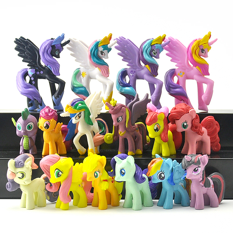 16pcs/set 4-6cm little pvc action toy figures horse Princess Celestia Christmas Gift for Kids Toys lps pet shop toys rare black little cat blue eyes animal models patrulla canina action figures kids toys gift cat free shipping