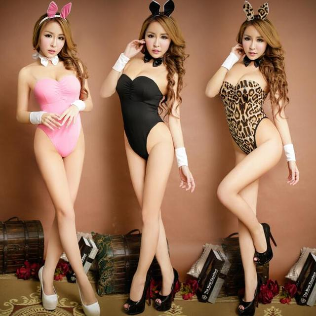 Rabbit Lingerie Sets Milk Silk Sexy Lingerie Leopard Pink Black Novelty Special Use Exotic Apparel 2017 Popular Woman Cosplay