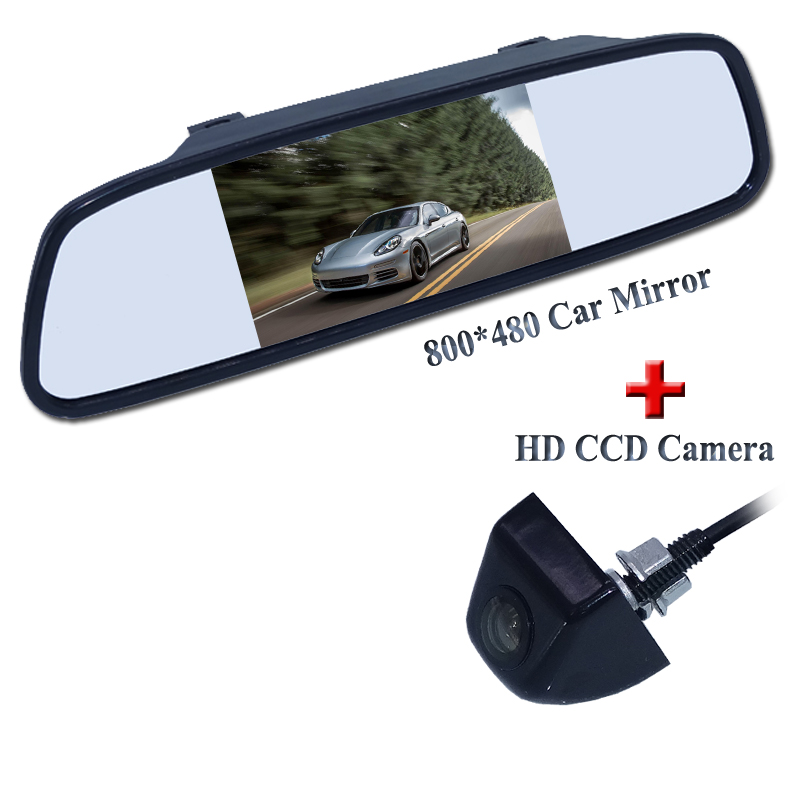 Factory selling 4.3 waterproof LCD car mirrorr+water proof balck matel shell material high quality car rear view camera