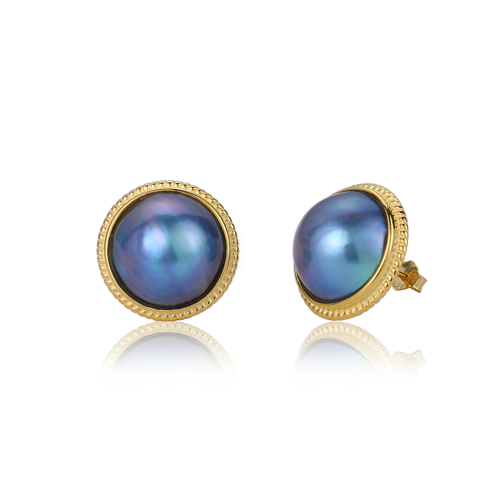 18K Gold Natural Freshwater Pearl Earrings 13 14mm Big Round Blue Pearl Stud Earrings European Fashion Pearl Earrings For Women