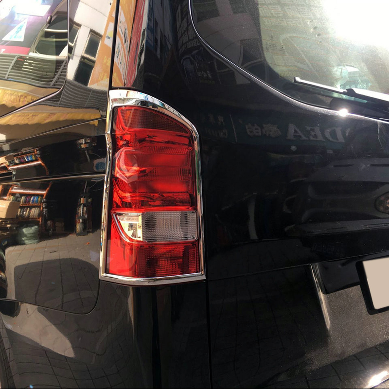 Car Rear Tail Light Lamp Cover Trim Sticker For Mercedes-Benz Vito W447 2014 2015 2016 2017 2018 Chrome Auto Accessories car auto accessories rear trunk molding lid cover trim rear trunk trim for nissan sunny versa 2011 abs chrome 1pc per set
