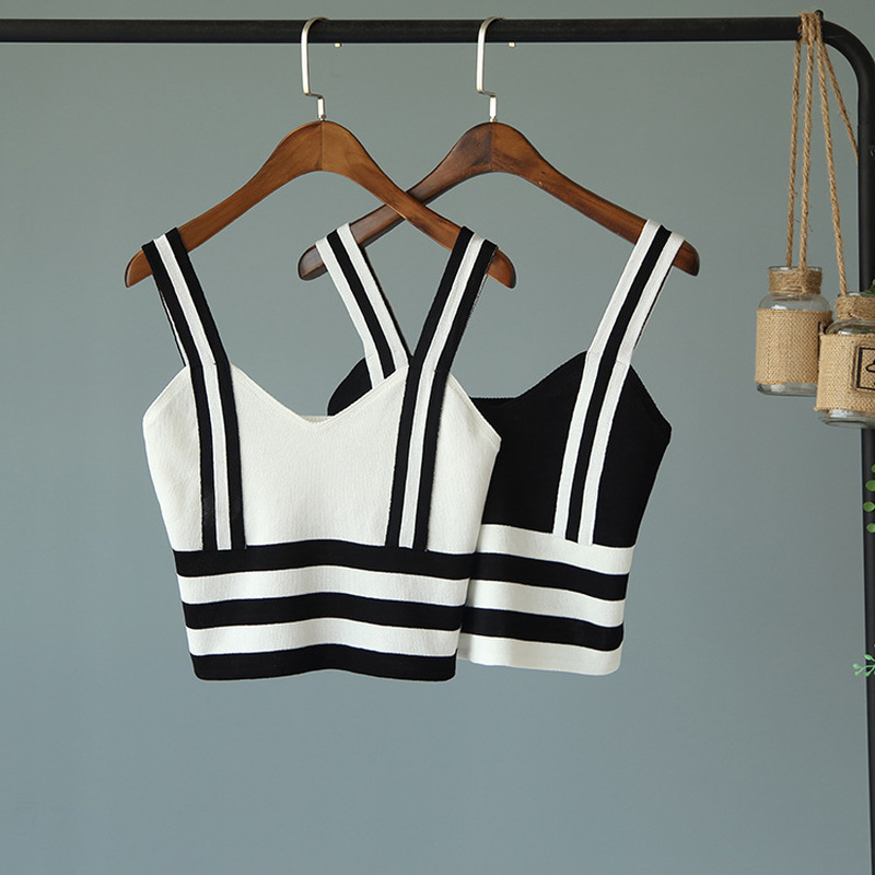 Short Knitted camisole tank cropped womens sleeveless top tube tops off shoulder sexy st ...