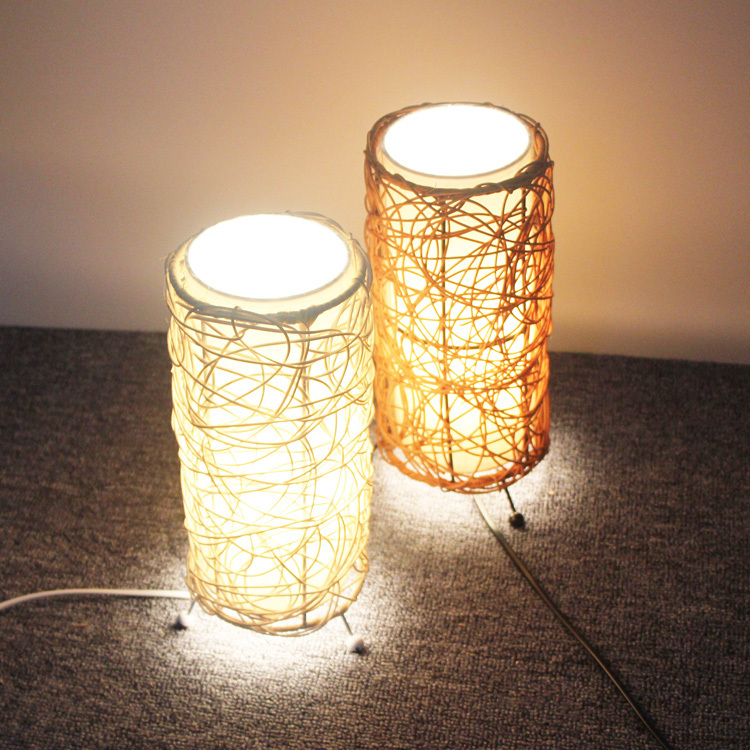 Fireweeds american vintage hand woven rattan table lamp decoration fireweeds american vintage hand woven rattan table lamp decoration table lamp gift desk lamp bedside bedroom study home lighting in desk lamps from lights aloadofball