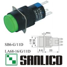 Interruptor de botão circular iluminado xb6eaw31 xb6eaw41 la68 las1 lay sb616g/11d retorno momentâneo da mola 16mm