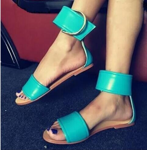 2017 Hot Sale Women Summer Sandals Buckle Design Round Toe Gladiator Flat Shoes Woman Casual Beach Sandal Flats Sandalias Mujer 2017 new arrival hot sale fashion summer sweet women flats heel sandals casual buckle strap roman sandals flat flat women shoes