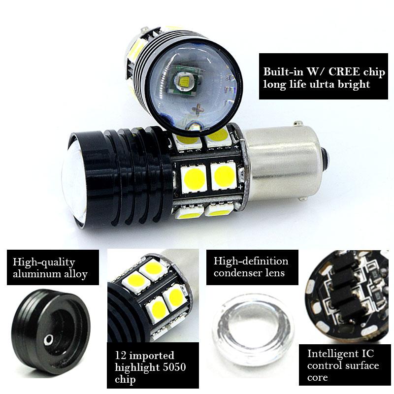 Par 1156 P21W beli Q5 čipi Canbus brez napake Avtomobilska LED - Avtomobilske luči - Fotografija 4