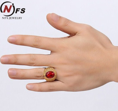 Nfs Signet Rings Gold Color Red Stone Ring Stainless Steel Engraved Anchor Vintage Wedding Band Jewerly Anel In Bands From Jewelry