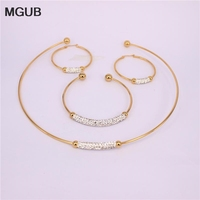 New Fashion Earrings Necklace Parure Jewelry Gold Plated Stainless Steel Crystal Jewelery Outstanding 30537