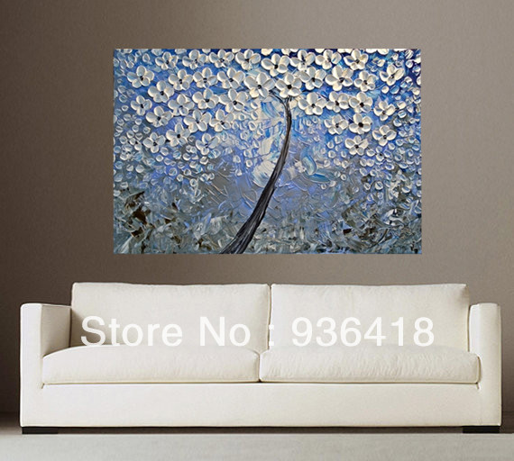 Blue Grey White Abstract Art Painting Tree Flower Large Modern