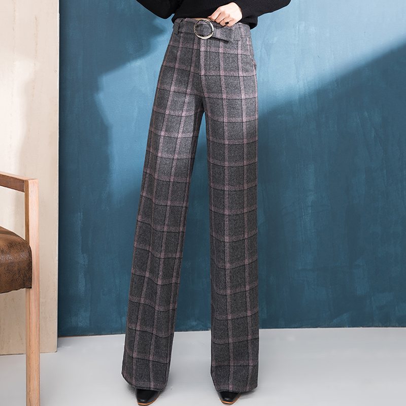 Winter Pants Women Wide Leg Pants Wool High Waist Loose Straight Causal Pants Female Trousers Formal Plaid Full Length
