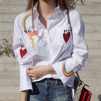 2017 Women Spring Autumn Cotton Blouses Long Sleeve Shirt Heart Rainbow Embroidered Women Tops Casual Cotton