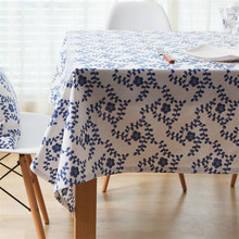 New Arrivals Cotton & Linen Table Cloth Blue And White Porcelain Printed Table Cover Pastoral Tablecloth Toalha De Mesa table runner vintage blue and white porcelain pattern table cover